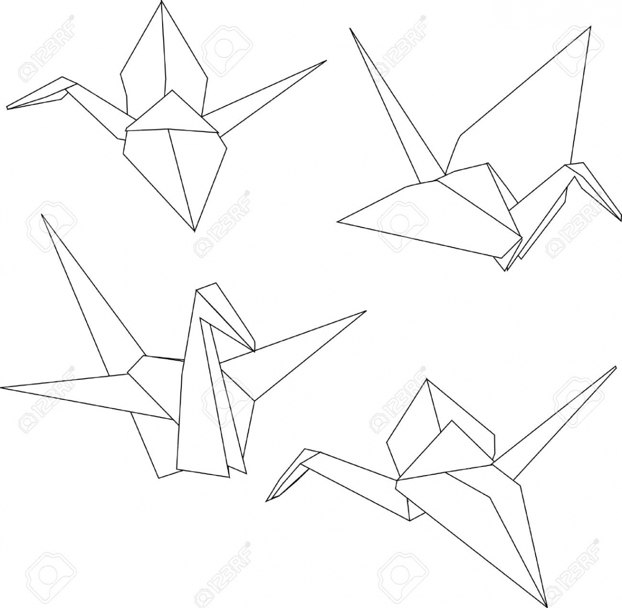 1235x1207 Japanese Origami Paper Cranes Royalty Free Cliparts With Regard