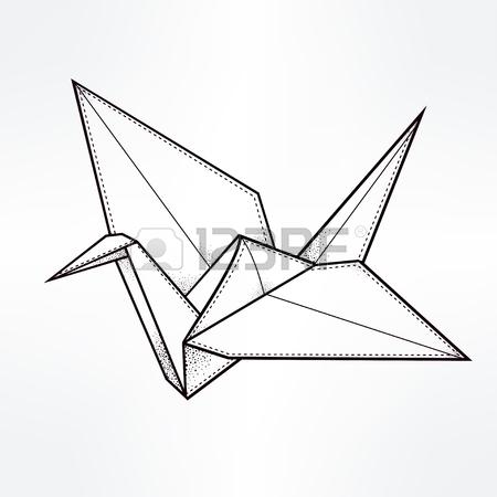 450x450 Origami Crane Bird. Paper Crane Stylized Triangle Polygonal Model