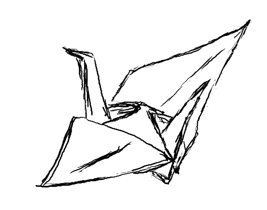 900x708 Origami Crane Sketch By Cath11yy