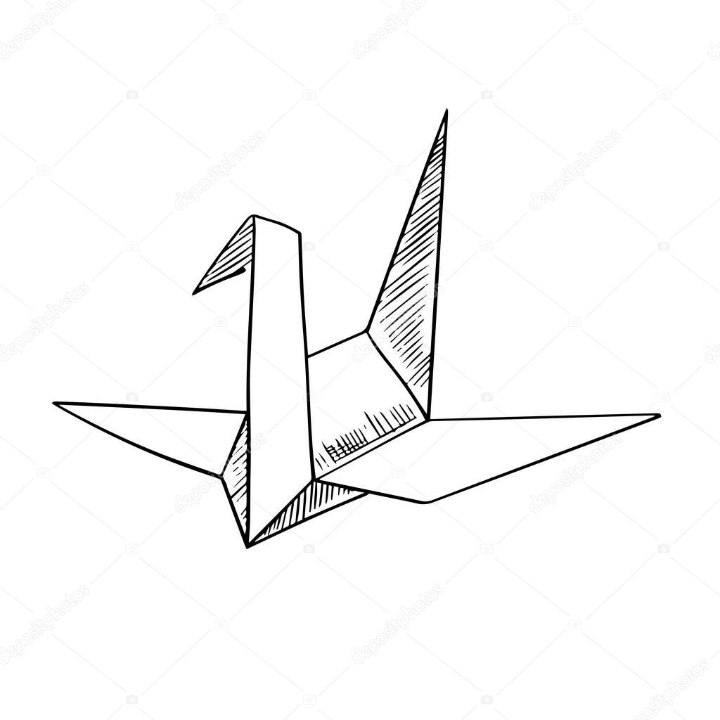 1024x1024 Origami Crane Paper Bird Sketch Icon Stock Vector Seamartini