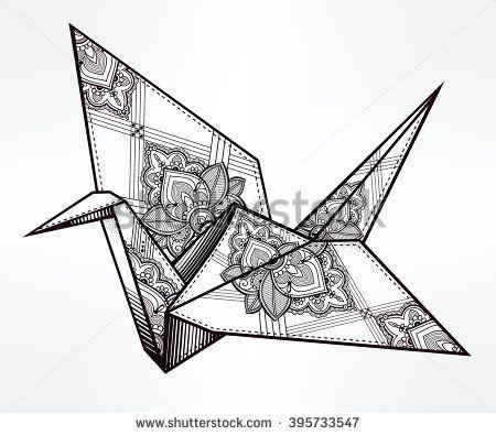 450x395 Origami Ornate Crane Bird. Paper Crane Stylized Triangle Polygonal