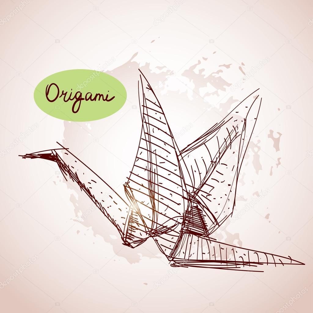 1024x1024 Origami Paper Cranes Sketch. Stock Vector Ekaterina P
