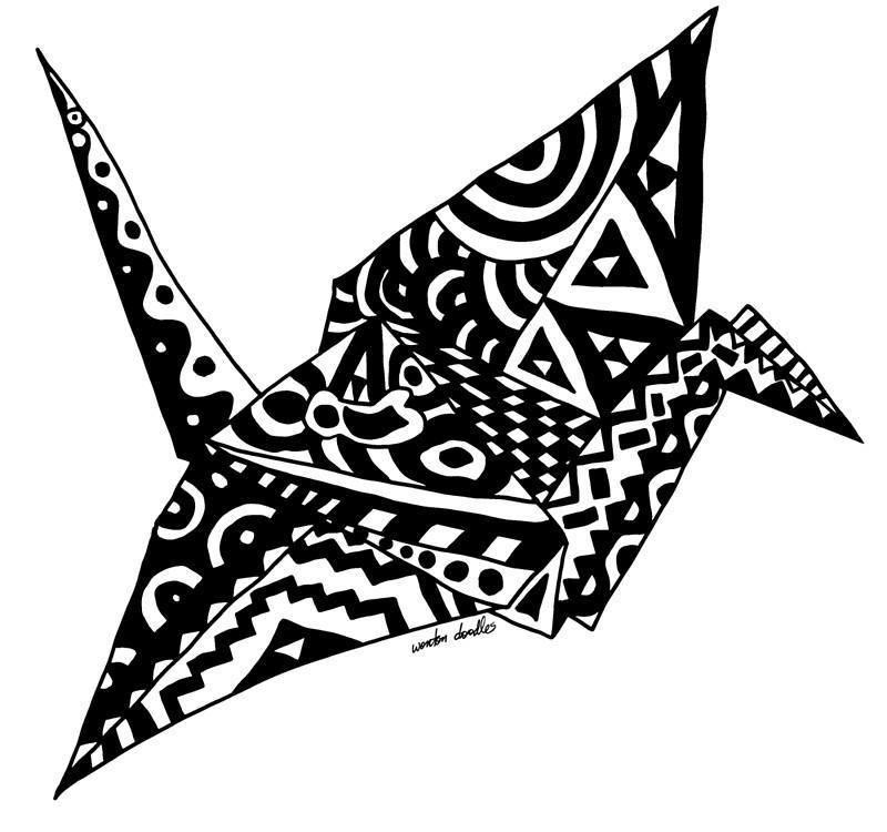 800x750 Paper Crane Origami Doodle Canvas Prints By Wontondoodles Redbubble