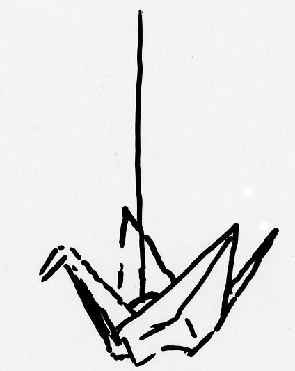 424x533 Paper Crane Sketch By Karaogen