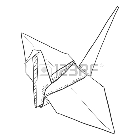 450x450 Vector Single Sketch Paper Crane. Traditional Origami Bird