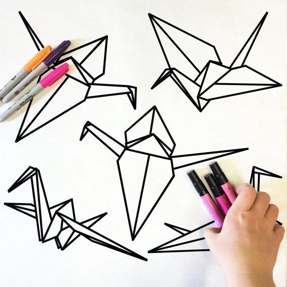 570x570 Origami Crane Doodle
