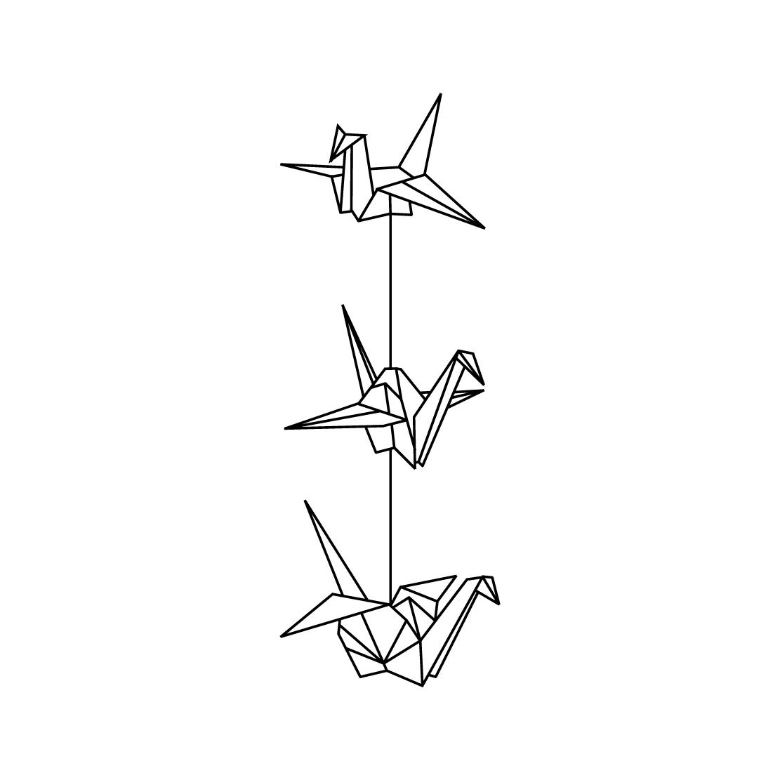 1111x1111 Paper Crane Tattoo