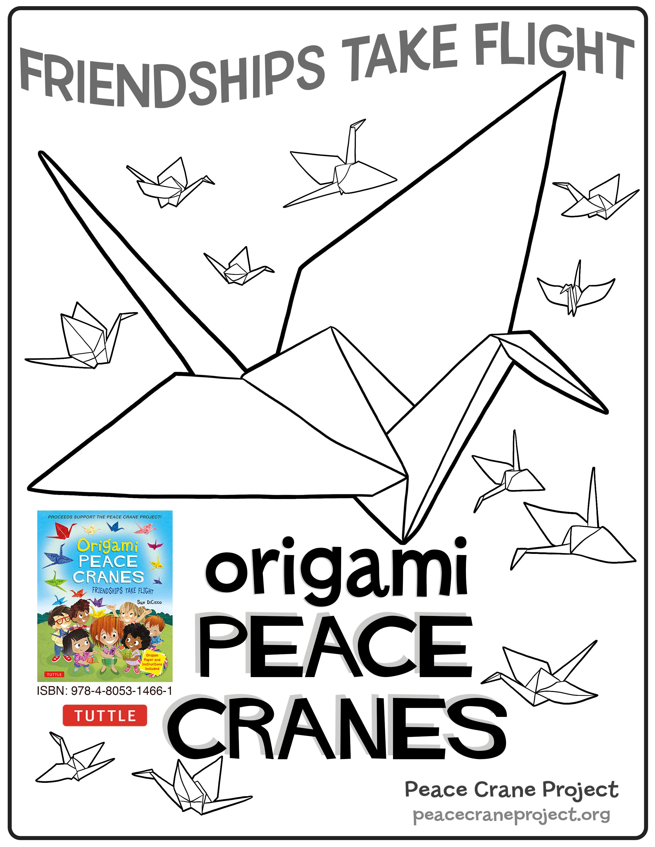 2550x3300 Coloring Pages Peace Crane