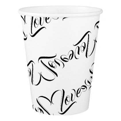 422x422 Monochromatic Love Patterned Design Paper Cup Weddings