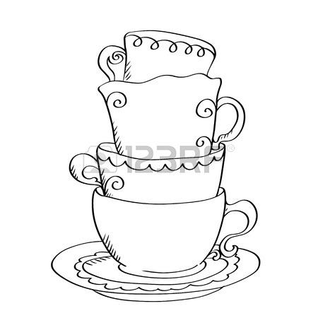 450x450 Tea Cup, Coffee Cup, Saucers, Set Simple Sketch Icon Black Line