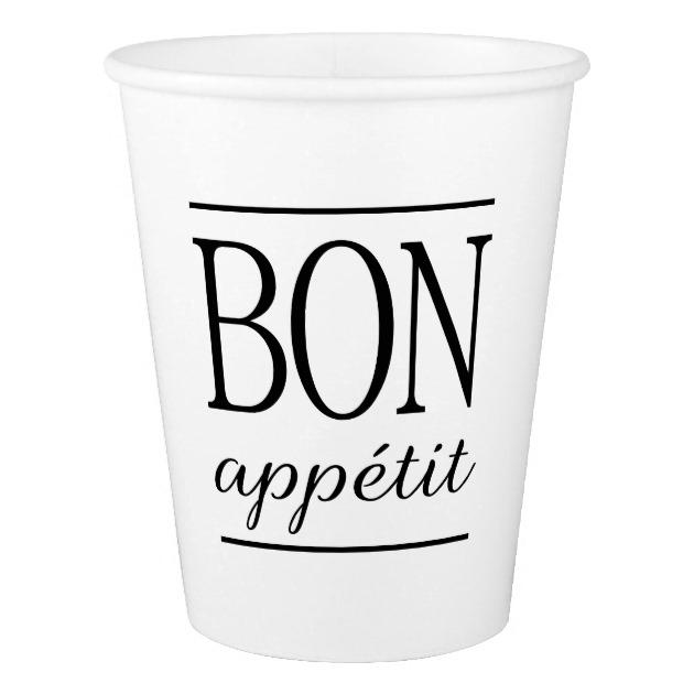 630x630 Bon Appetit Black Amp White Kitchen Quote Typography Paper Cup
