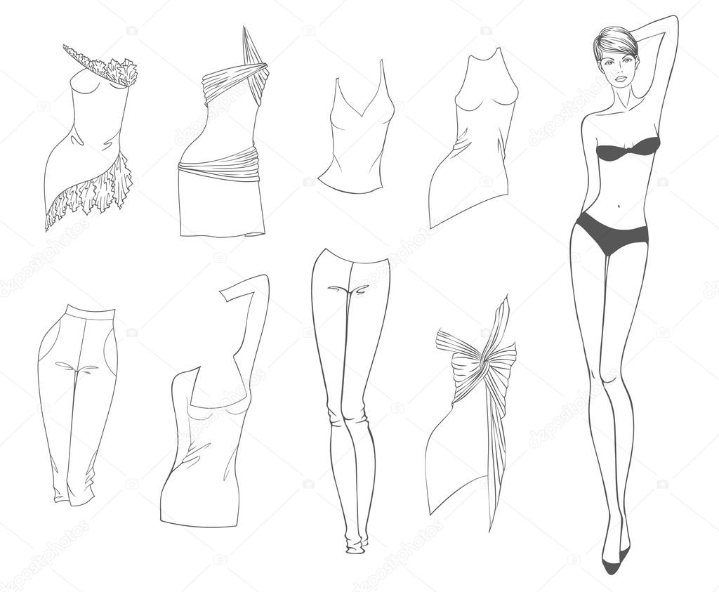 1024x843 Vector Paper Doll Of A Young Beautiful Girl And Summer Clothes