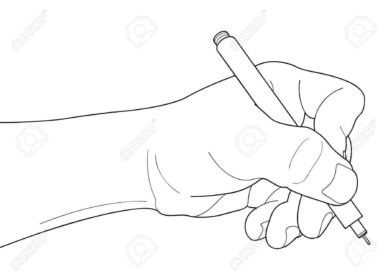 1300x909 Hands With Pen Over Paper Isolated On White Background Royalty