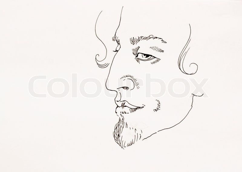 800x569 Man Ironic Portrait Simple Outline Ink Sketch On Paper Stock