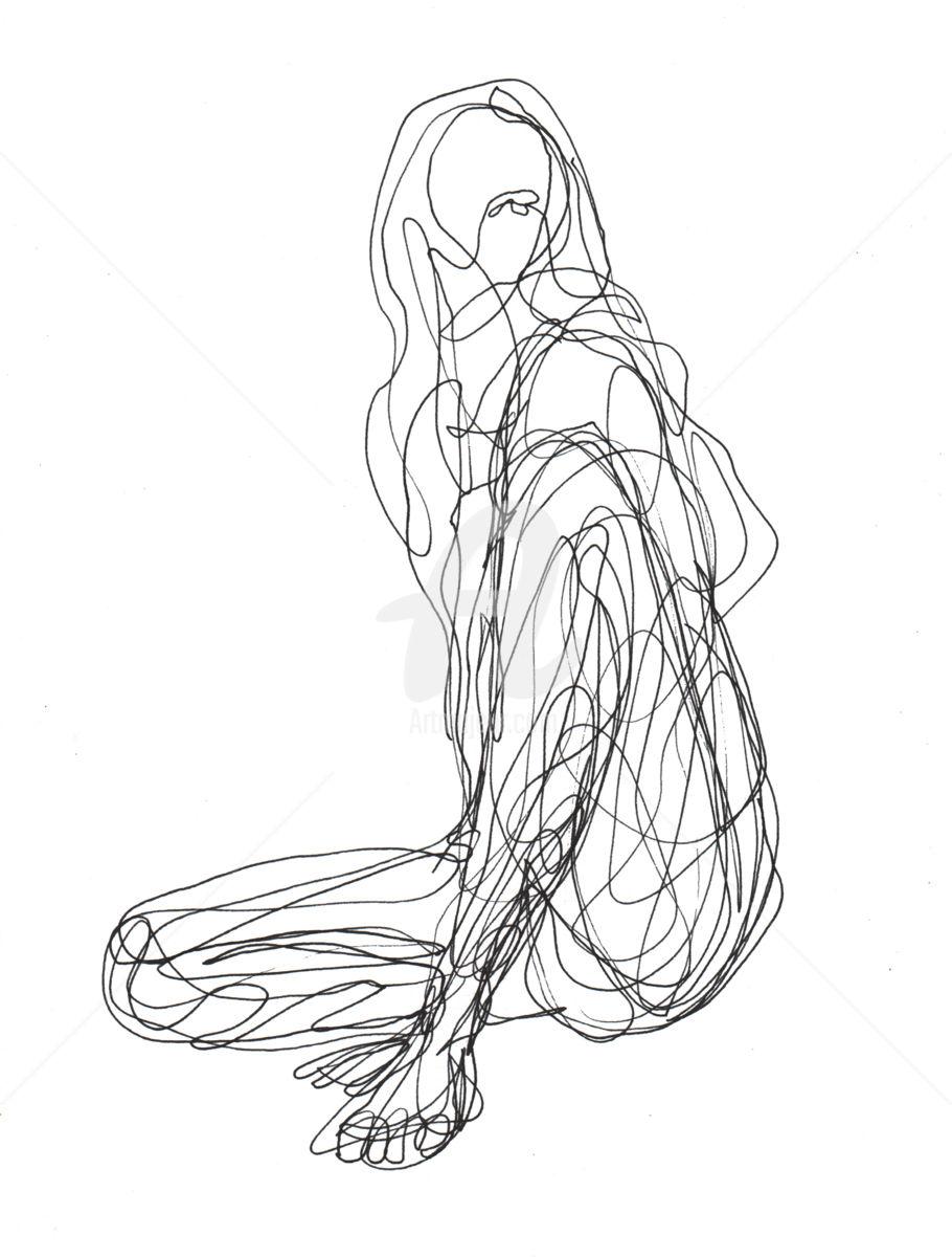 910x1200 One Line Drawing Woman 04 (Cuboism)
