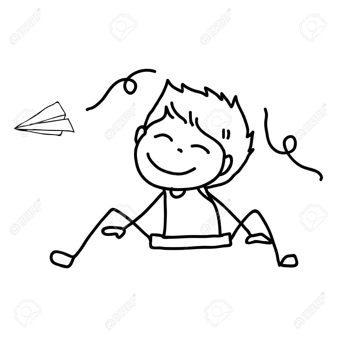 1300x1300 Hand Drawing Of A Boy And Paper Plane In Line Art Royalty Free