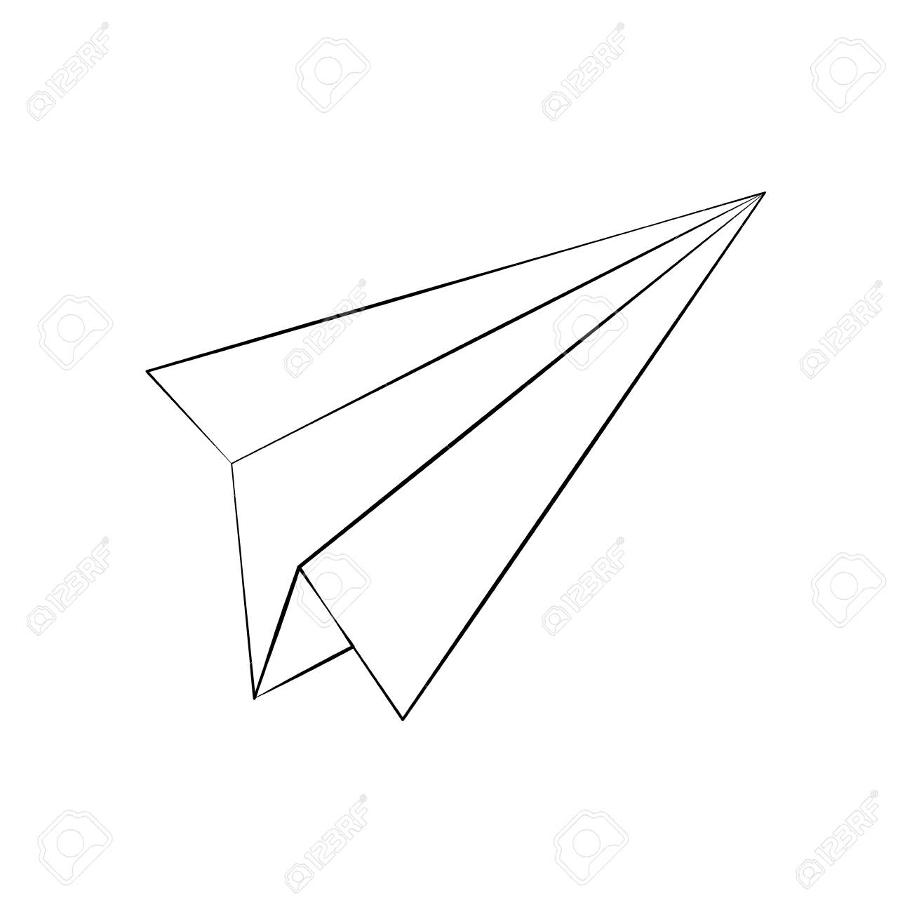 1300x1300 Paper Plane Draw Icon Vector Illustration Graphic Design Royalty