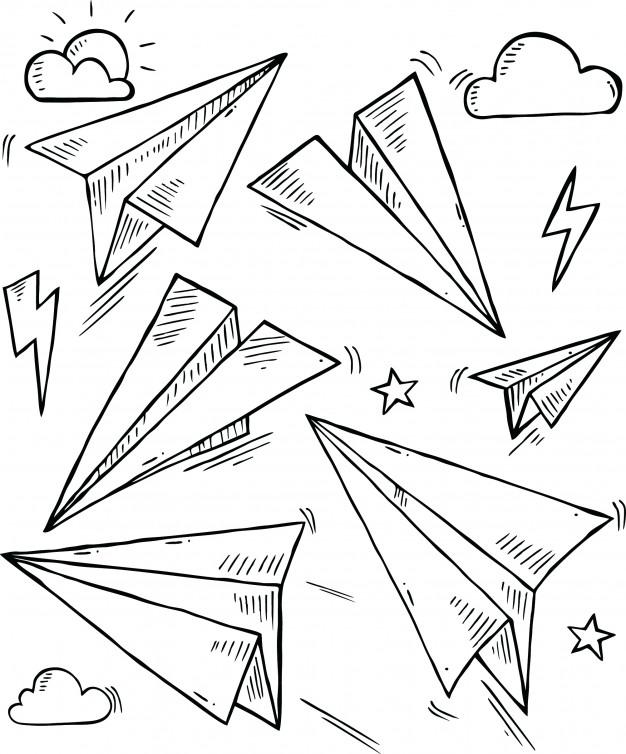 626x754 Paper Plane In Doodle Style Vector Premium Download