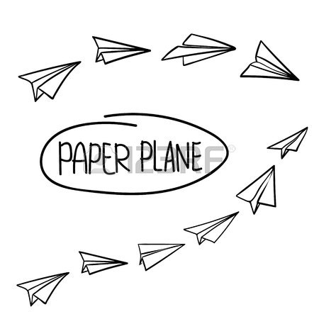 450x450 Vector Paper Airplane. Travel, Route Symbol. Set Of Vector