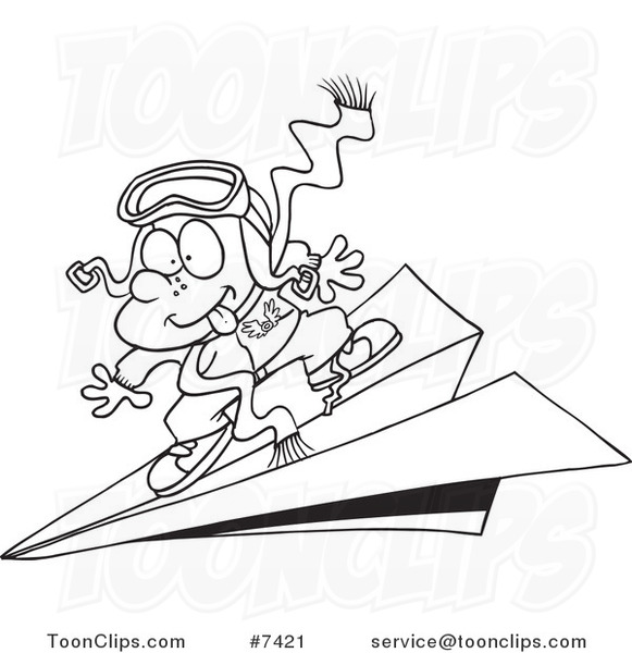 581x600 Cartoon Blacknd White Line Drawing Of Pilot Boy Flying On