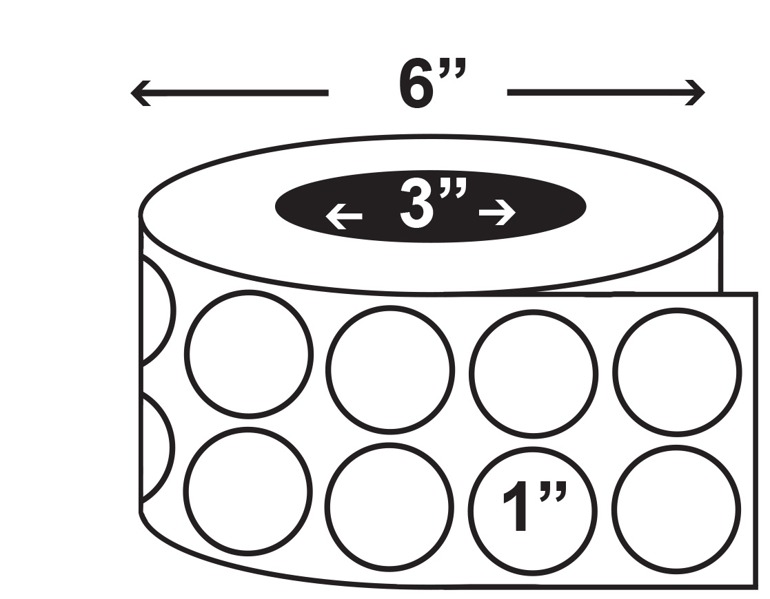 1117x870 Inkjet Roll Labels Semi Gloss White Paper Circles