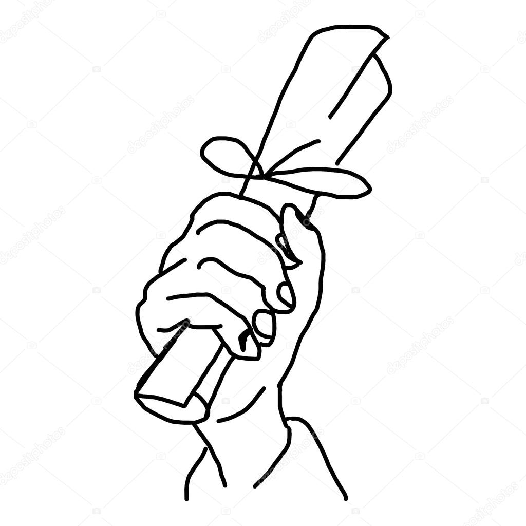1024x1024 Hand Drawn Doodles Of Hand Holding Paper Roll Stock Vector