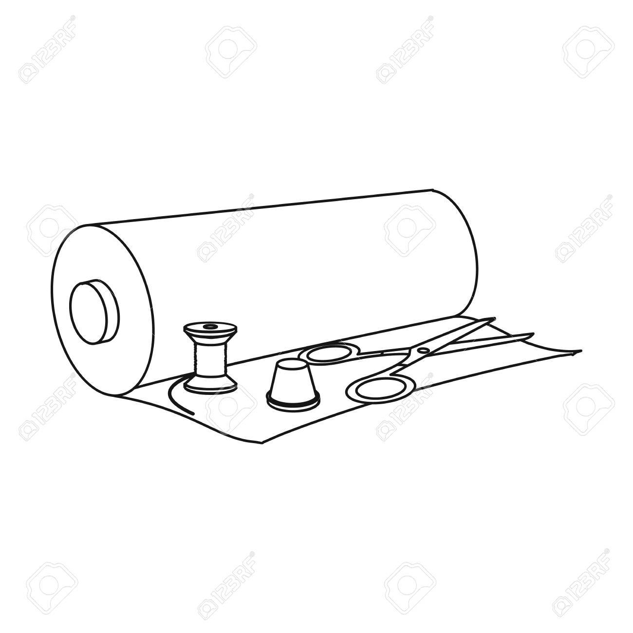 1300x1300 A Roll Of Sewing Fabric, Scissors, A Thimble And A Thread Coil