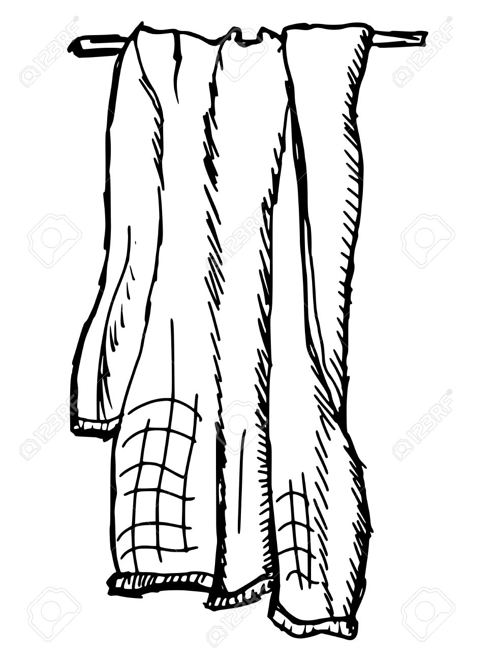 974x1300 Hand Drawn, Sketch Illustration Of Towel Royalty Free Cliparts