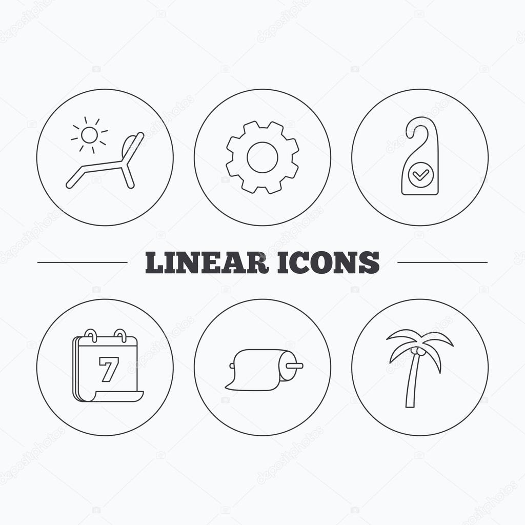 1024x1024 Palm Tree, Paper Towel And Beach Deck Chair Icons. Stock Vector