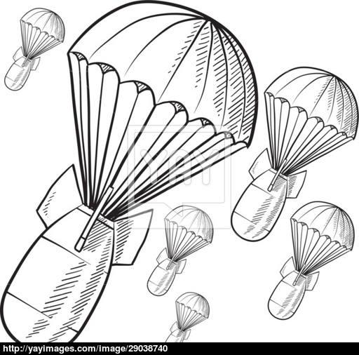 512x506 Parachute Bombs Sketch Vector