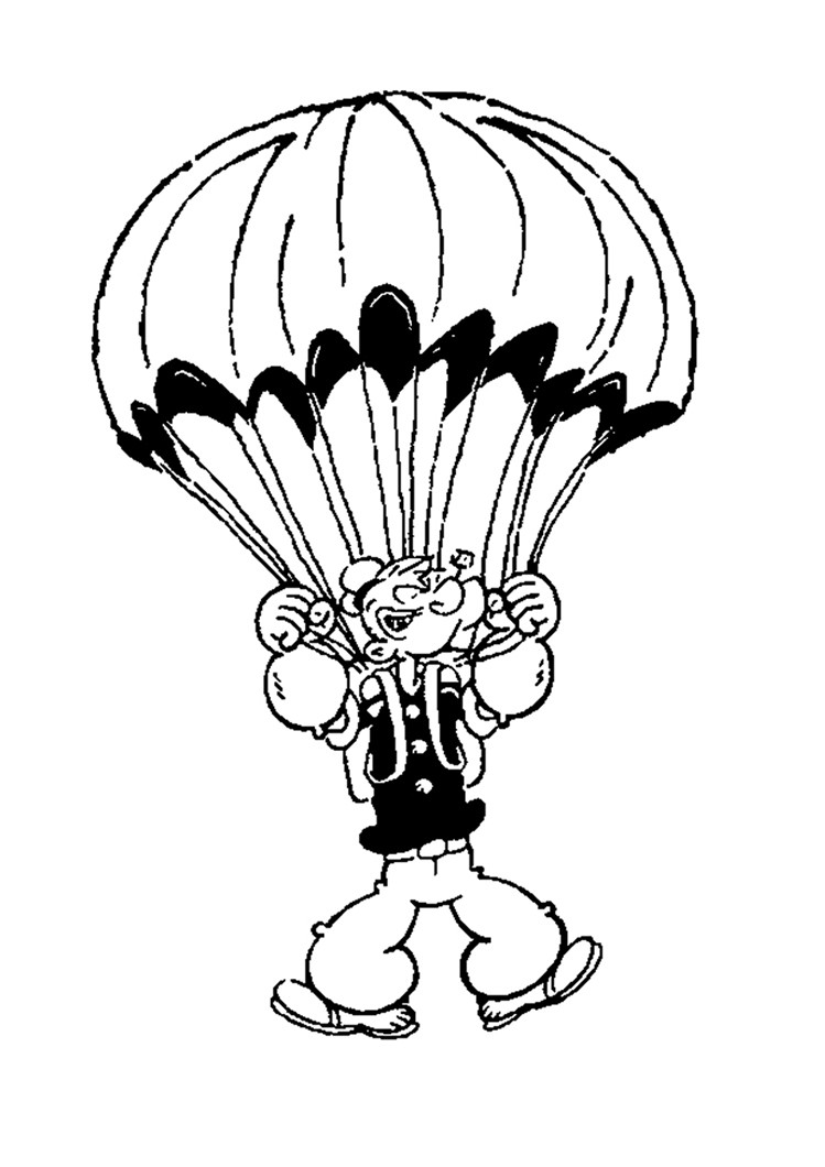 749x1060 Popeye The Sailor With Parachute Coloring Pages