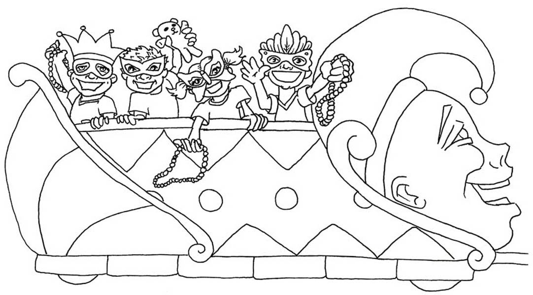 1082x600 Mardi Gras Float Coloring Page Mardi Gras Float Color Sheet