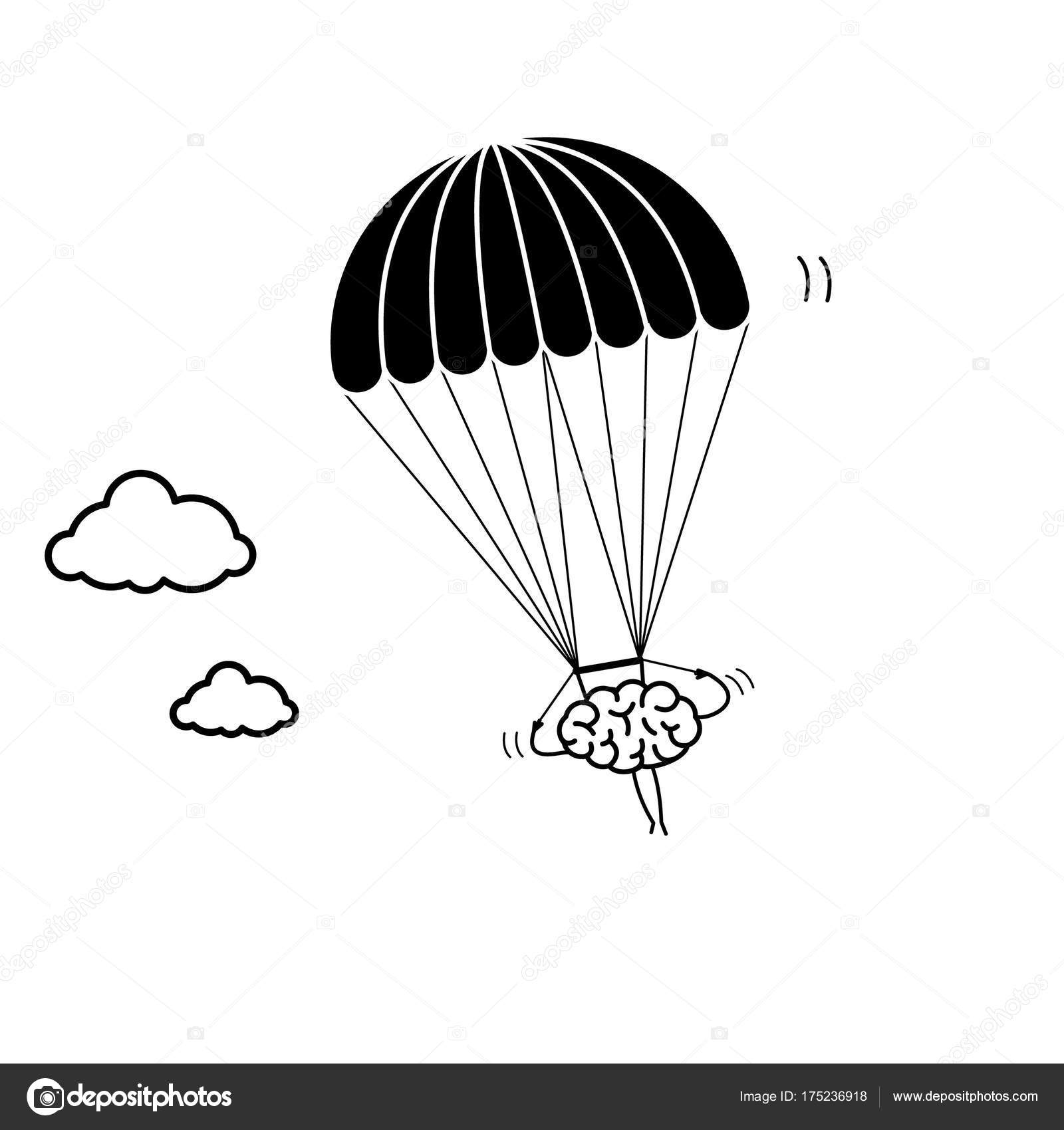 1600x1700 Brain Flying On Parachute Stock Vector Honzahruby