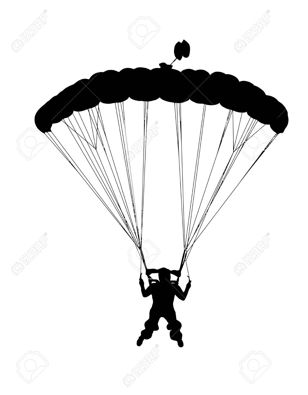 1016x1300 Front Profile Silhouette Of Sky Diver With Open Parachute Landing
