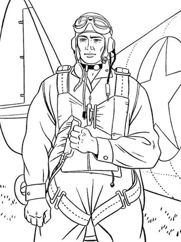 600x804 Paratrooper Soldier On Duty Celebrating Veterans Day Coloring Page
