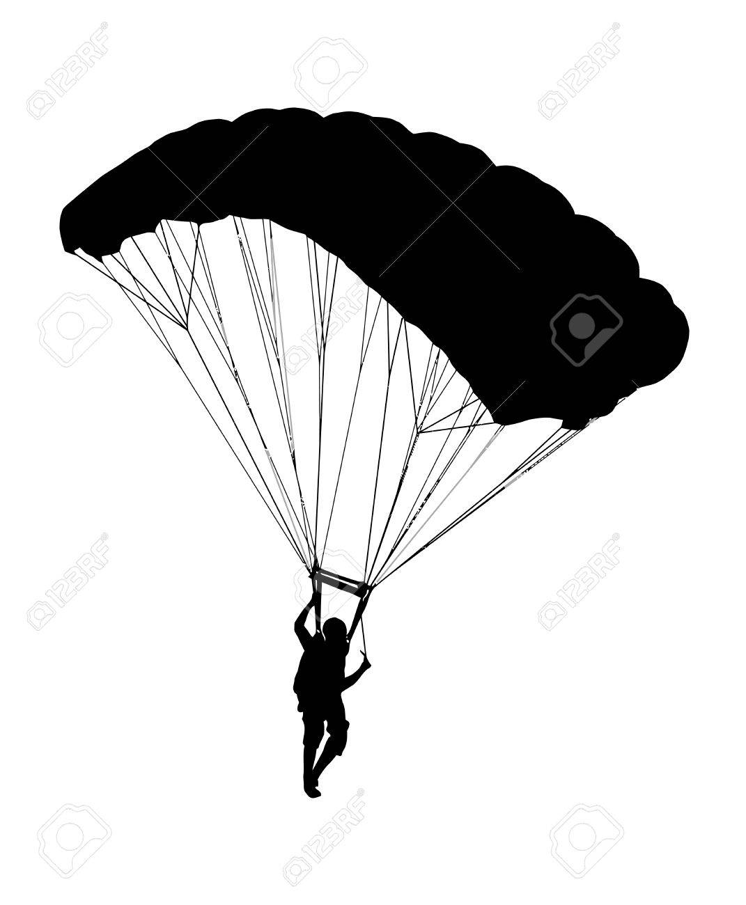 1071x1300 Side Profile Silhouette Of Sky Diver With Open Parachute Landing