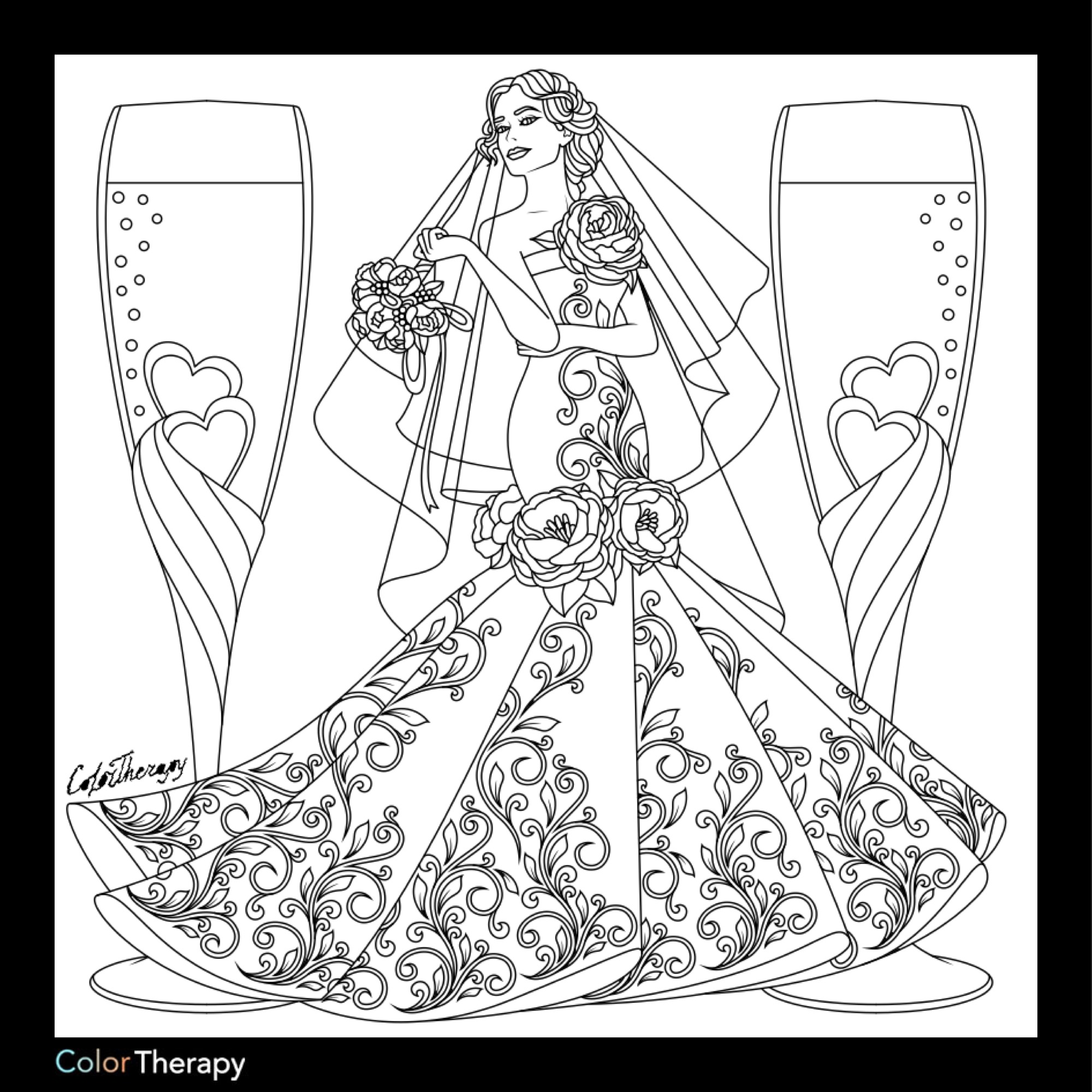 2000x2000 Bridal Coloring Page Fashion Coloring Pages For Adults