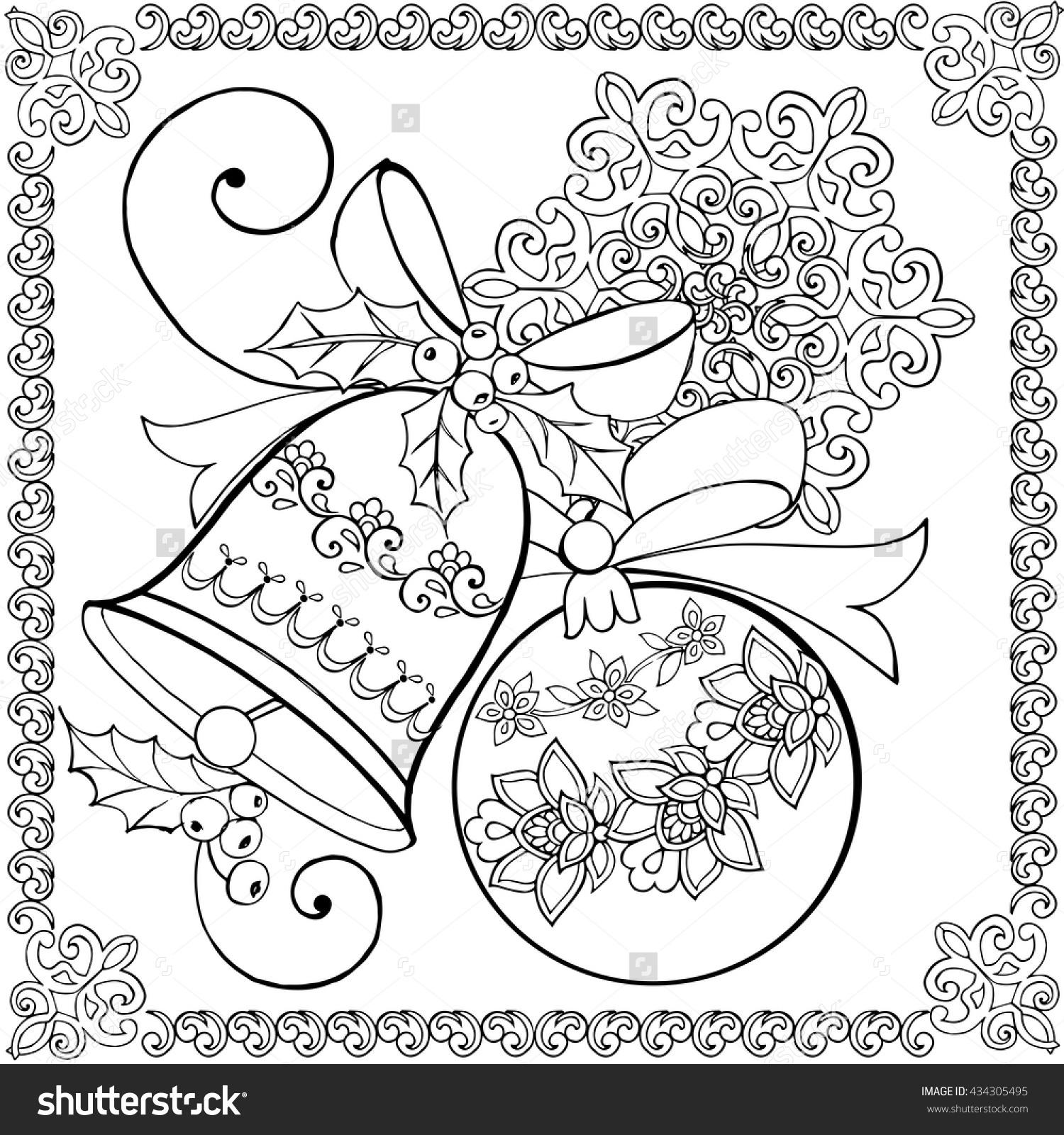 1500x1600 Hand Drawing Christmas Bell, Christmas Ball And Snowflake