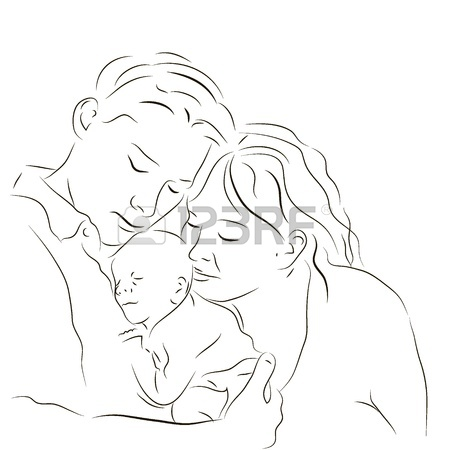 450x450 Hand Drawn Silhouette Of Parents And A Baby Royalty Free Cliparts