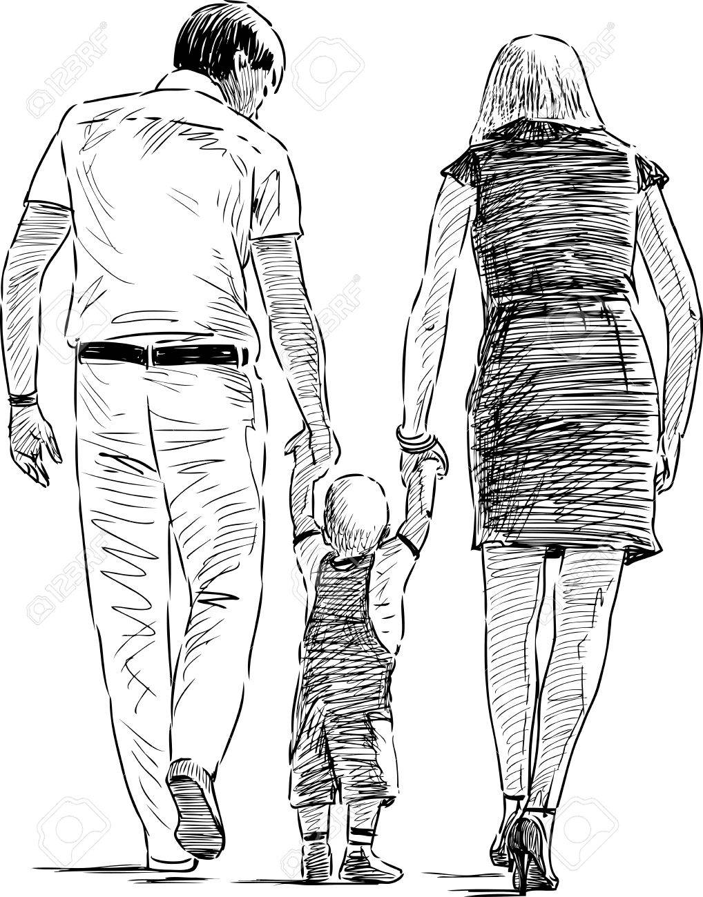 1018x1300 Sketch Of The Young Parents With Their Baby On A Stroll Royalty