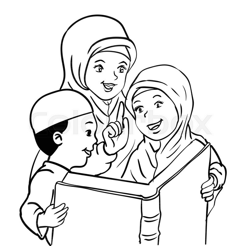 800x800 Cartoon Muslim Mother With Son And Daughter Read Book, Kids Read