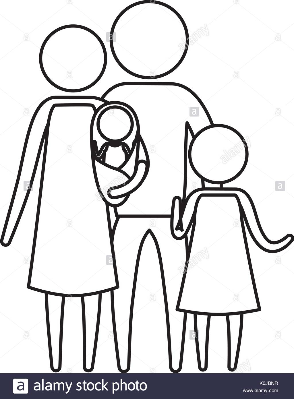 1024x1390 Sketch Silhouette Of Pictogram Parents With A Baby And Little Girl
