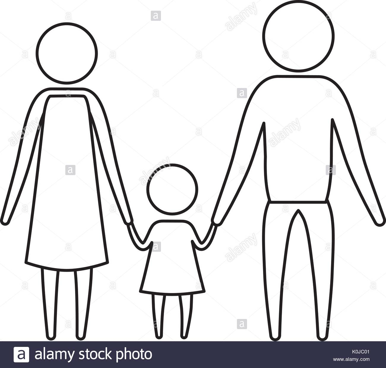 1300x1238 Sketch Silhouette Of Pictogram Parents With A Little Girl Holding