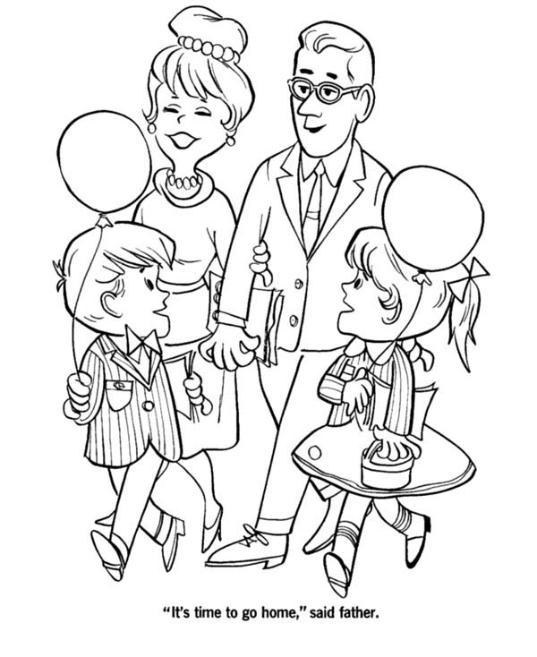 600x734 Big Family Visiting Grandparents On Gran Parents Day Coloring Page