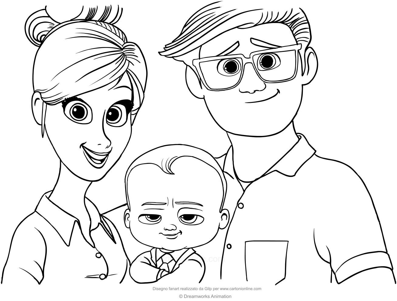 1307x992 Boss Baby With His Parents Coloring Page