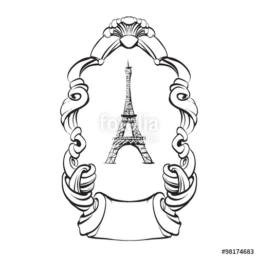 500x500 Eiffel Tower Paris Sketch Vector Outline Stock Image And Royalty