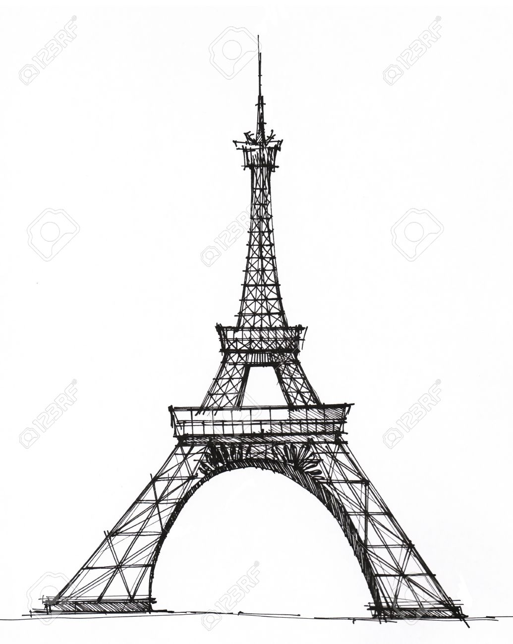 1035x1300 Picture Eiffel Tower In Paris, Drawn With A Pen Stock Photo