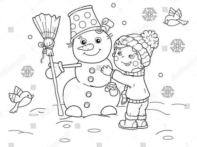 640x480 Season Winter Vacation Drawing Coloring Pages Print Color Craft