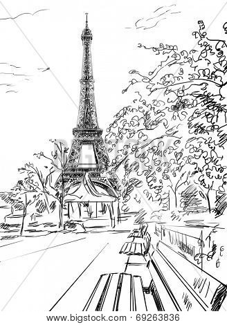 328x470 Stock Photo Of Street In Paris. Eiffel Tower