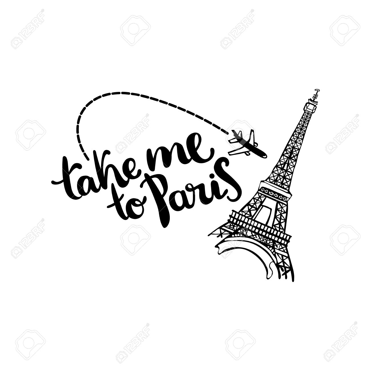 1300x1300 Take Me To Paris. Lettering. Eiffel Tower And The Aircraft